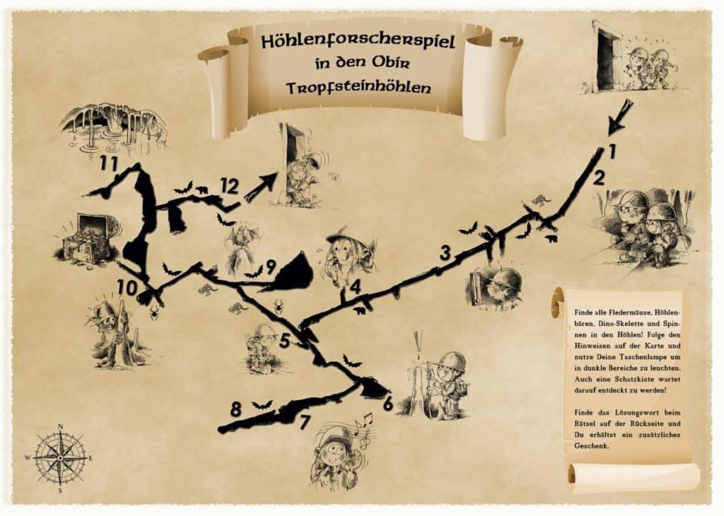 Schatzkarte Kinderprogramm Tropfsteinhöhlen Obir in Südkärnten