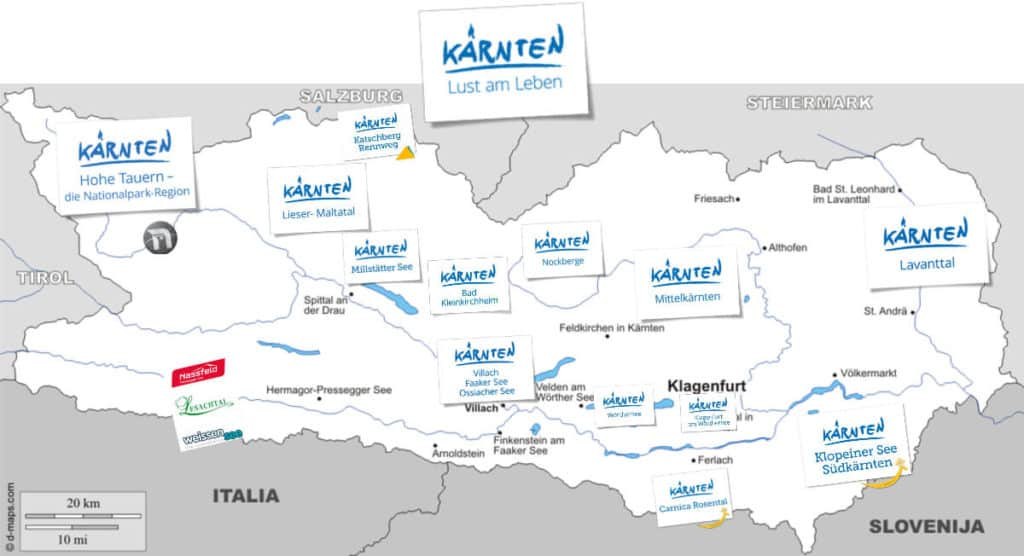 Urlaubsregionen - Kärnten Karte