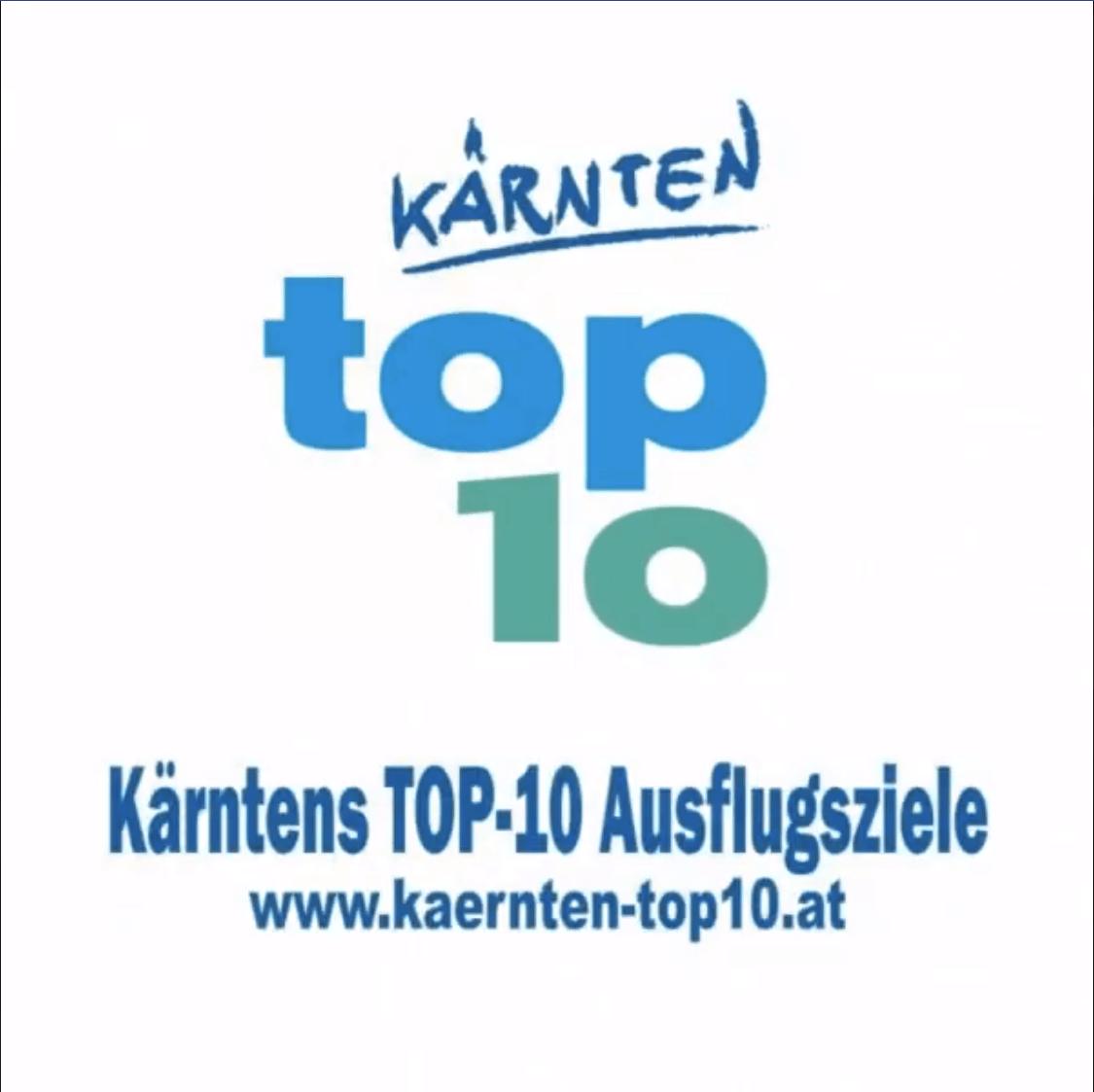 TOP Ausflugsziele in Kärnten - Österreich. Logo und Internet