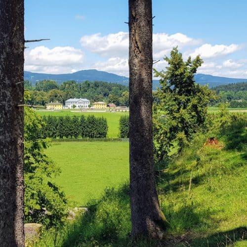 Blick auf Schloss Rosegg bei Wanderung durch Tierpark Rosegg Nähe Wörthersee