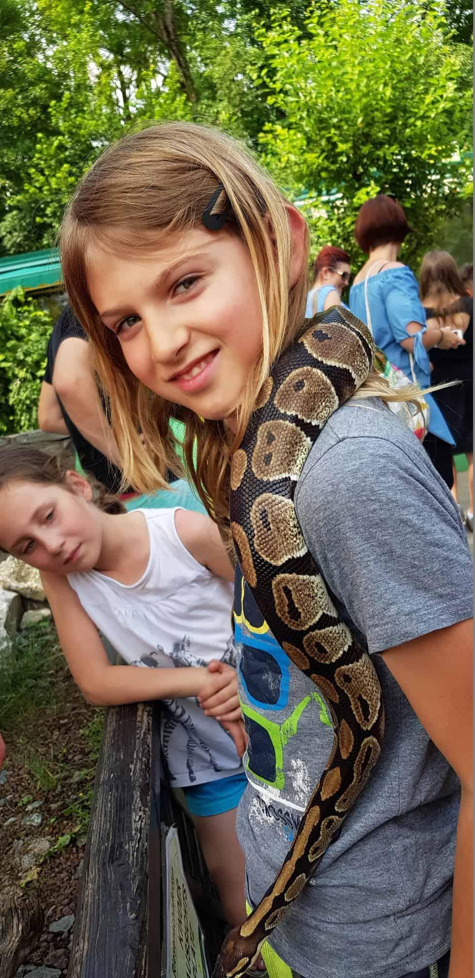 Kind mit Schlange bei Ausflug im Reptilienzoo Happ Klagenfurt
