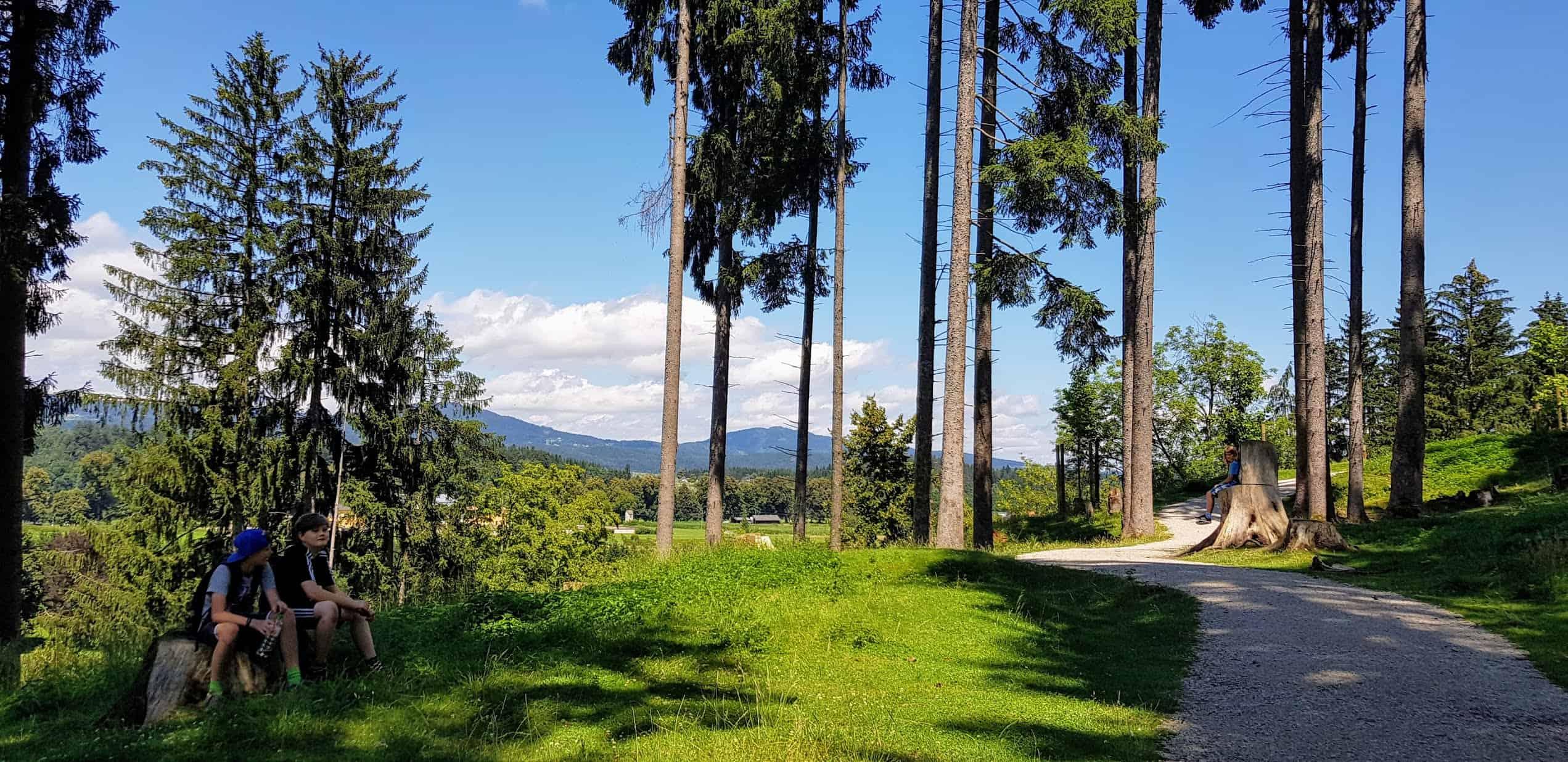 Kinder rasten bei Wanderung durch den Tierpark Rosegg in Kärnten