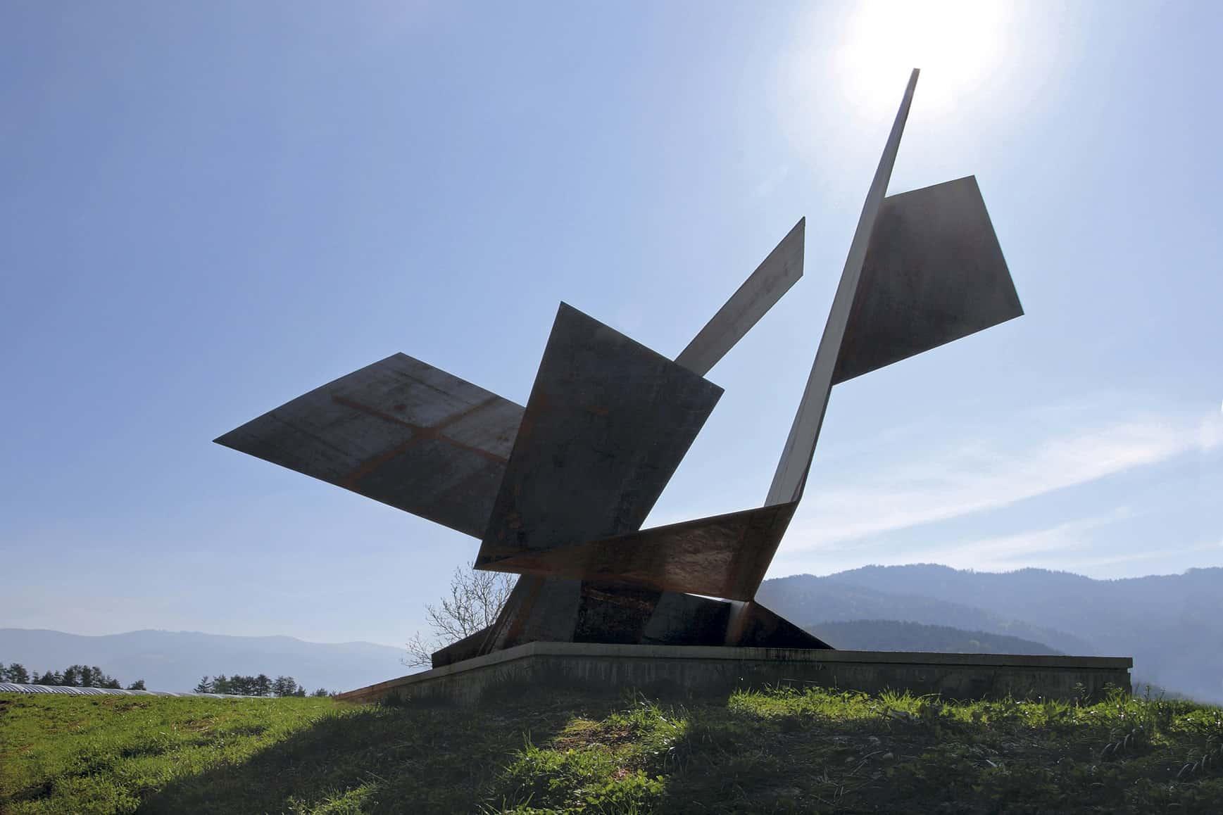 Skulptur Pillhofer am Kunst-Radweg Klopeinersee Südkärnten