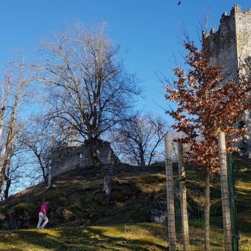 Ruine Rosegg im Frühling bei Ausflug mit Kind