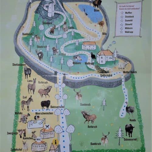 Tierpark Rosegg Rundwanderung Lageplan Kärnten