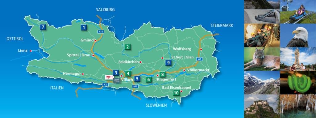 Übersicht Kärnten Karte TOP-Ausflugsziele, Kärnten Therme und Atrio