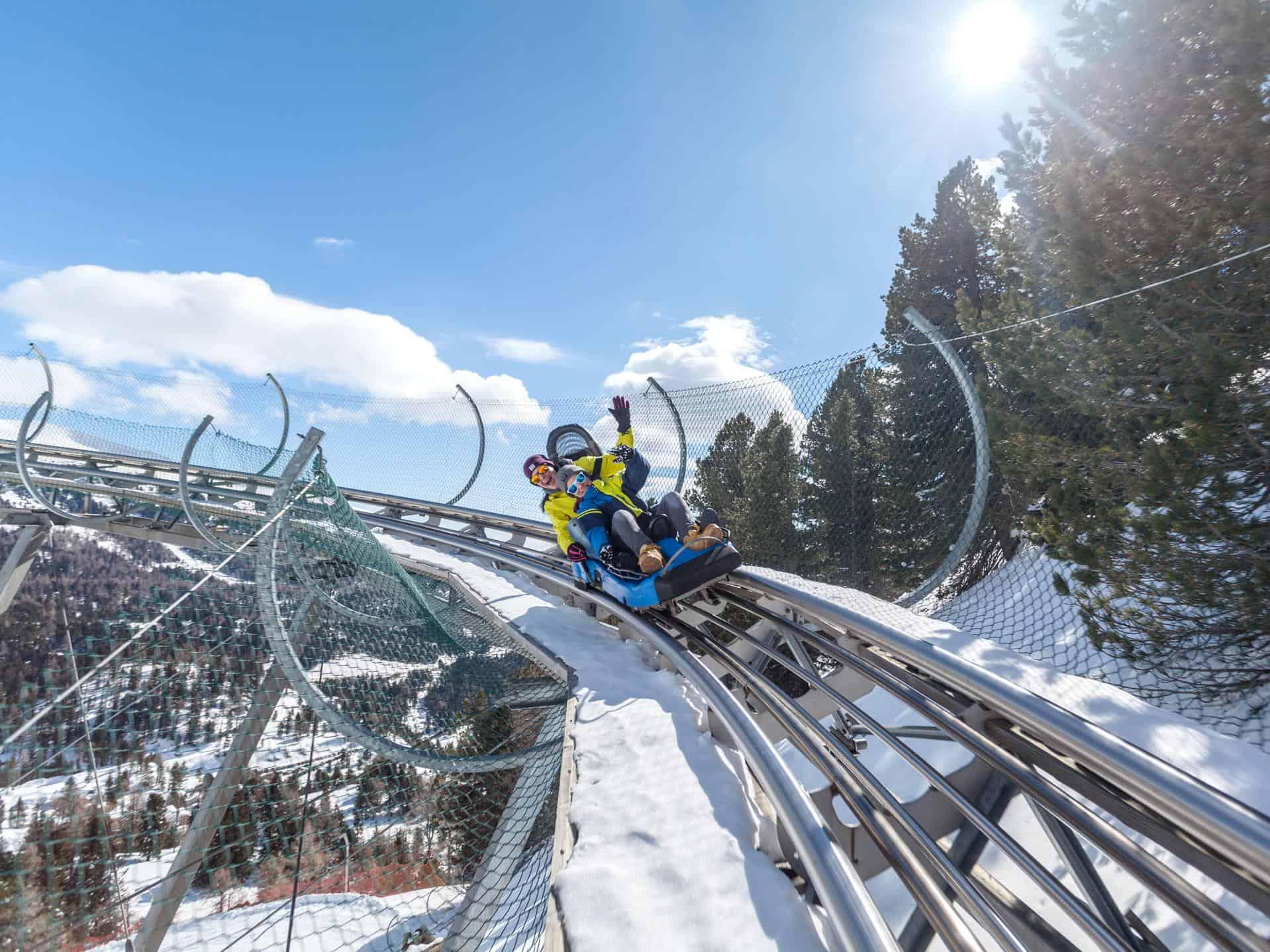Rodelbahn Nocky Flitzer im Winter auf der Turracher Höhe in Kärnten und Steiermark