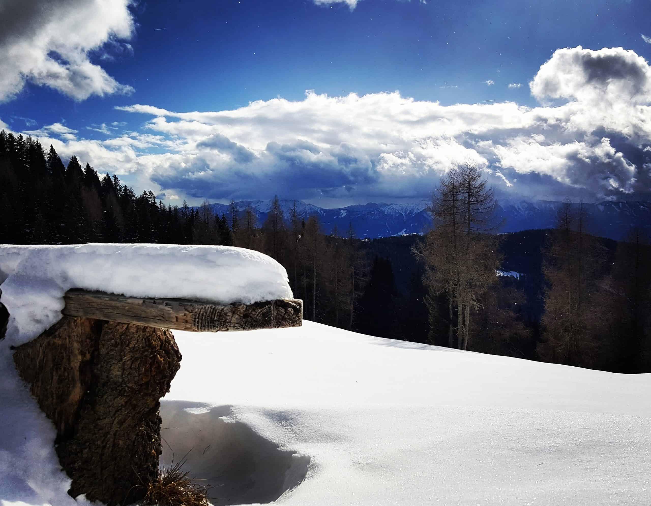Winterwanderweg auf der Gerlitzen Alpe in Kärnten - Region Villach - Faaker See - Ossiacher See in Kärnten - Österreich