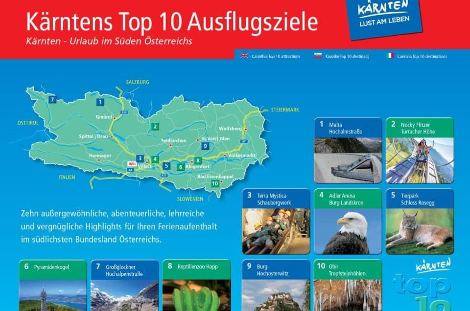 Öffnungszeiten Ausflugsziele Kärnten Coronavirus Übersichtskarte TOP-10