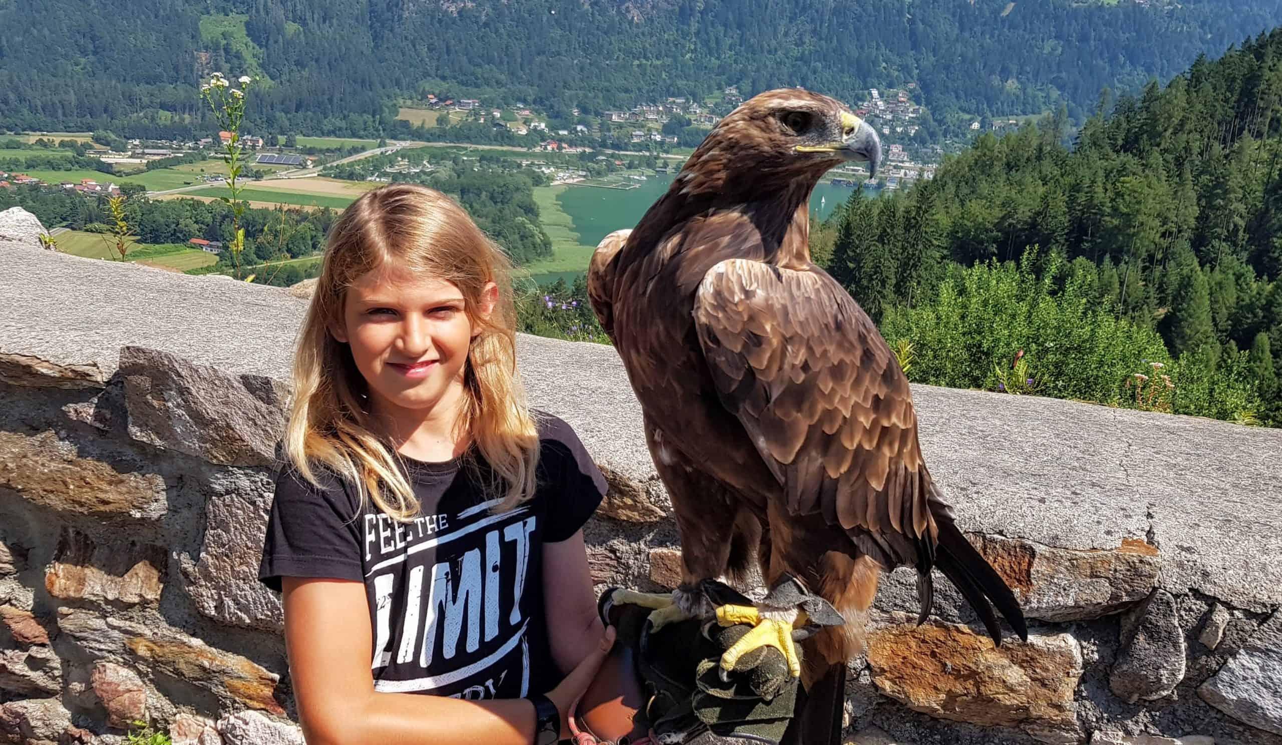 Kind mit Adler in der Adlerarena Burg Landskron am Ossiacher See - Ausflugsziel & Sehenswürdigkeit in Kärnten, Österreich