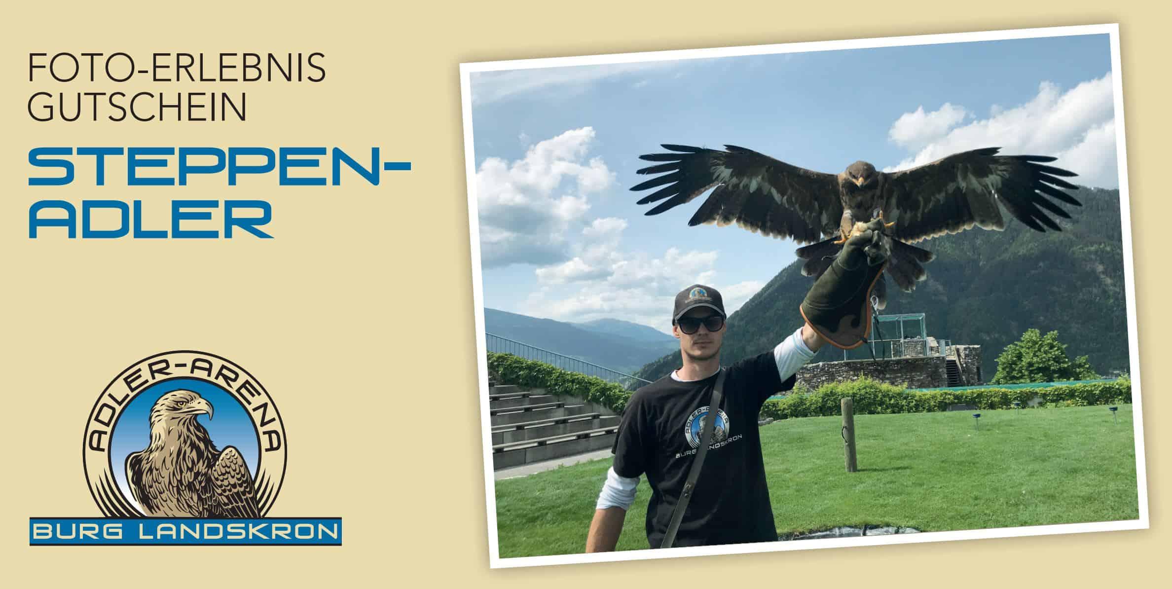 Gutschein für Foto mit Steppenadler auf Adlerarena Burg Landskron in Kärnten als Geschenksidee für Urlaub in Österreich