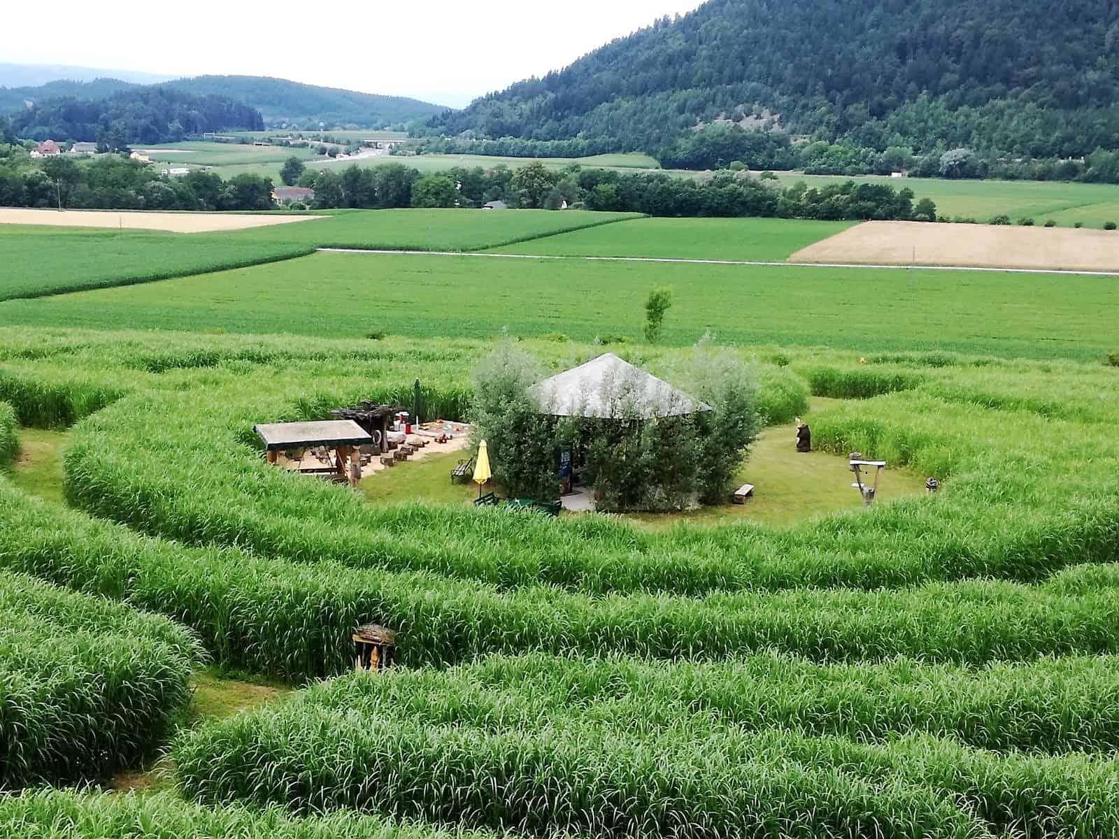 Labyrinth im Elefantengras, Ausflugsziel in Völkermarkt - Ferienregion Klopeinersee in Kärnten bei Österreich Urlaub
