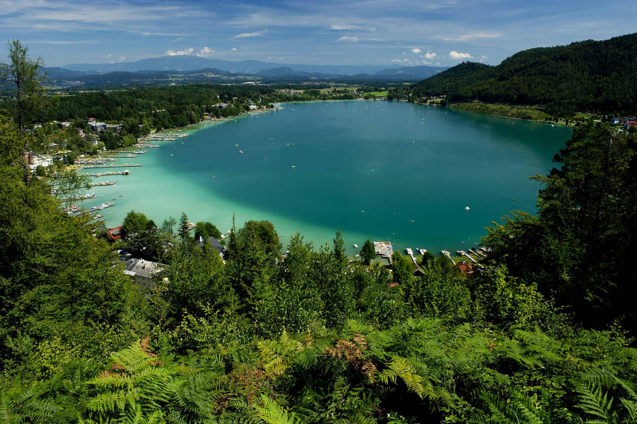 Klopeinersee in Südkärnten - Bezirk Völkermarkt in Österreich. Badesee und Ausflugsort in Kärnten.