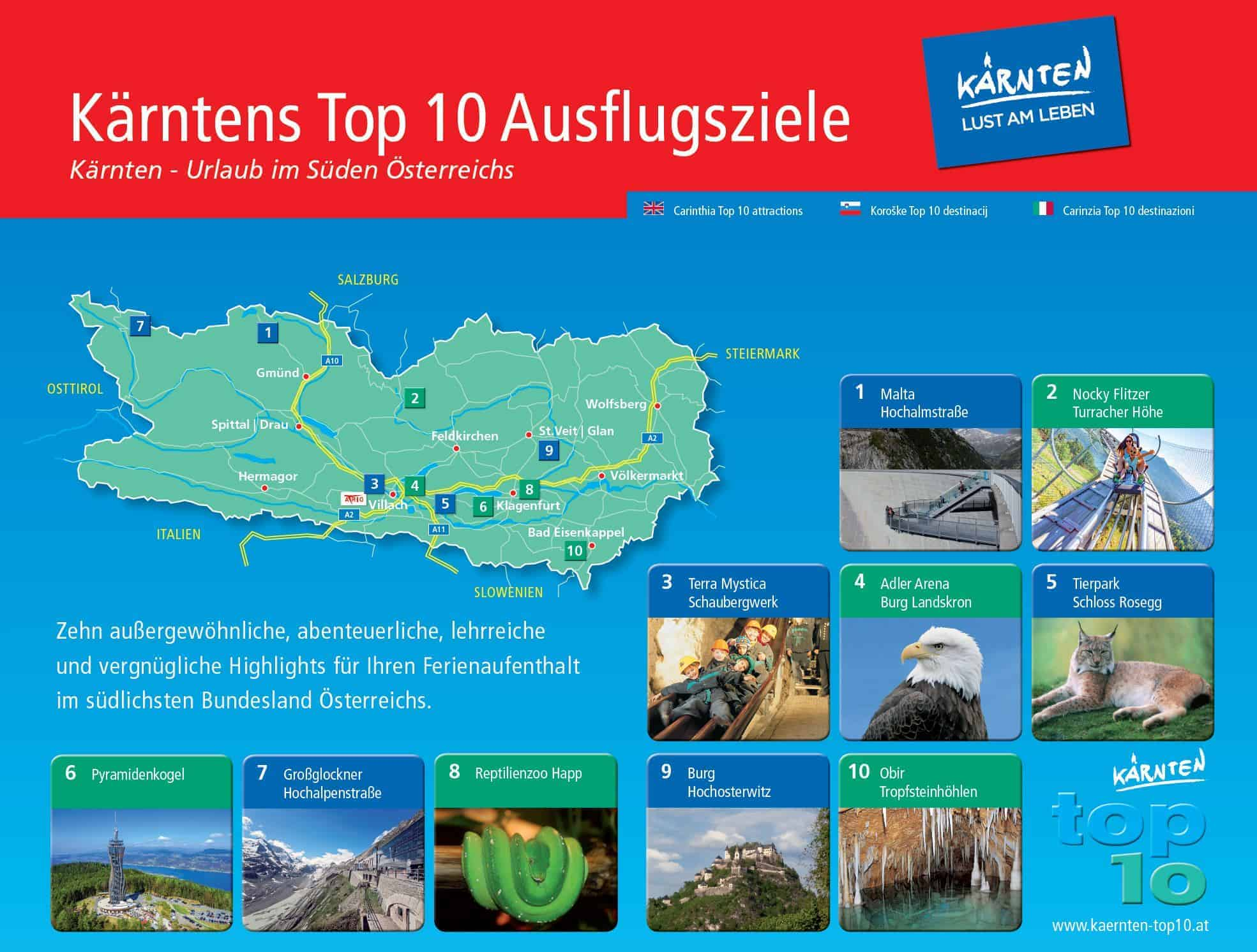 Kärntens TOP Ausflugsziele am und rund um den Wörthersee - Karte