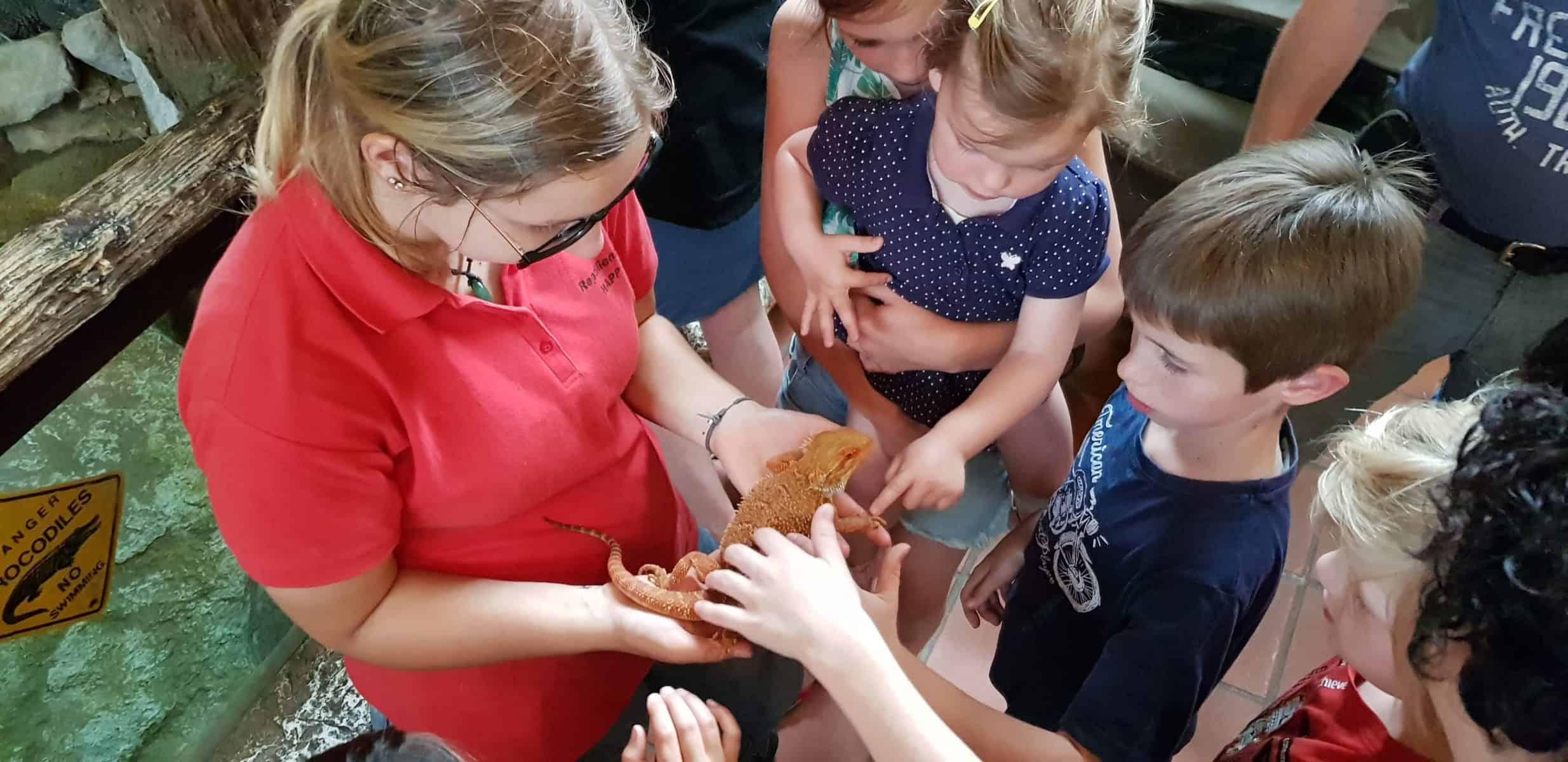 Kinder mit Eidechse bei Führung im Reptilienzoo Happ - familienfreundliches Ausflugsziel in Klagenfurt am Wörthersee