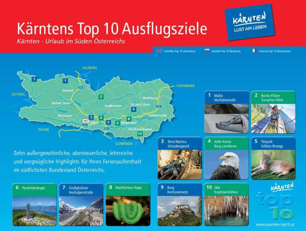 Die schönsten Sehenswürdigkeiten in Kärnten - TOP-10 Ausflugsziele Kärnten Übersicht